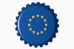 Flaschenkapsel mit einer Markierungsfahne von Europa Lizenzfreie Stockbilder