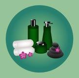 Flaschenprodukt für Kosmetik und Badekurort Stockfotos