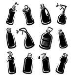Flaschenreinigungsmittelsatz Sammlungsaufkleber und -ikonen Vektor Stockfotografie
