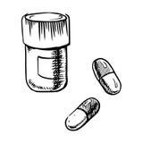 Flaschenskizze mit Pillen und Kapseln Stockbilder