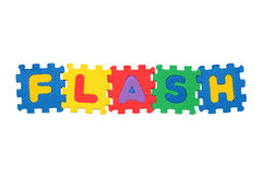 Flash. Word Flash, from letter puzzle, isolated on white background Royalty Free Stock Image