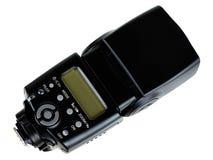 Flash. Photo of the camera flashgun isolated on the white background Stock Images