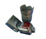 Flash & obiettivo per la macchina fotografica del dslr Fotografie Stock
