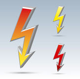 Flash arrow. Isolated  flash sign collection with shadow and background Royalty Free Stock Photos