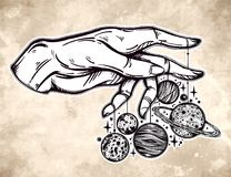 Human hand, marionette puppet planets illustration Stock Photo