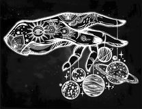 Human hand, marionette puppet planets illustration. Flash Astronomy. Inked human hand, marionette puppet moon and planets, celestial drawing. Dotwork ink tattoo Royalty Free Stock Photos