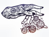 Human hand, marionette puppet planets illustration Stock Image