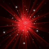 Flash background with light rays and stars. Red flash background with light rays and stars Stock Illustration