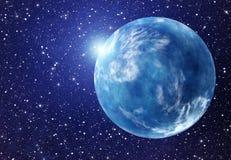 Flash bianco del pianeta dello spazio ambiti di provenienza del cielo dell'universo Immagini Stock