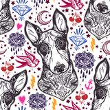 Flash Bull terrier dog seamless pattern and eyes. Vintage style traditional tattoo flash Bull terrier dog seamless doodle pattern with swallows. Trendy stylish Royalty Free Stock Photo