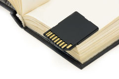 Flash-card. Lying on the blank page of an open book royalty free stock image