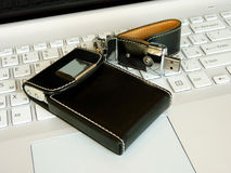 Flash card and card holder  on the keyboard Stock Images