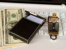 Flash card and card holder  on the keyboard Royalty Free Stock Photography