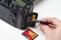 Flash card CF and DSLR camera Stock Photos