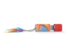 Flash card colorato con le piume Fotografie Stock Libere da Diritti