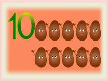 Flash card illustrato che mostra il numero dieci, patate Fotografie Stock