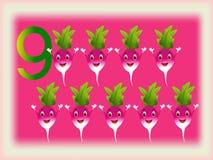 Flash card illustrato che mostra il numero nove, ravanelli Immagini Stock Libere da Diritti