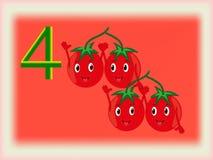 Flash card illustrato che mostra il numero quattro, pomodori Fotografia Stock