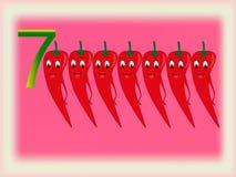 Flash card illustrato che mostra il numero sette, pepe Fotografia Stock