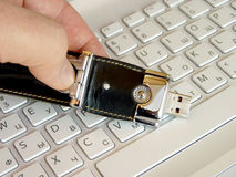 Flash card on the keyboard Royalty Free Stock Photo