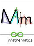 Flash card letter M is for Mathematics. Science alphabet for kids. Puzzle ABC flash cards series. Cartoon vector illustration in flat style Stock Images