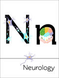 Flash card letter N is for Neurology. Science alphabet for kids. Puzzle ABC flash cards series. Cartoon vector illustration in flat style Stock Photography