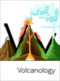 Flash card letter V is for Volcanology. Science alphabet for kids. Puzzle ABC flash cards series. Cartoon illustration in flat style vector illustration