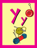 Flash Card Letter Y nouns Stock Photography