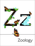 Flash card letter Z is for Zoology. Royalty Free Stock Photo