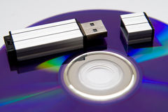 Flash card lying on a disk royalty free stock photos