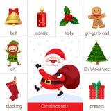 Flash card stampabile per il Natale fissato e Santa Claus Immagini Stock Libere da Diritti