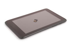Flash card sul PC della compressa (percorso di ritaglio) Fotografie Stock
