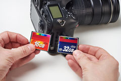 Flash cards CF and DSLR camera Stock Photos