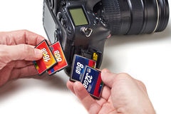 Flash cards CF and DSLR camera Royalty Free Stock Photos