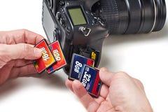 Flash cards CF and DSLR camera Royalty Free Stock Photos