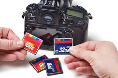 Flash cards CF and DSLR camera Royalty Free Stock Photo
