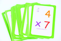 Flash Cards. Colorful set of multiplication flash cards for kids on a white background royalty free stock photos