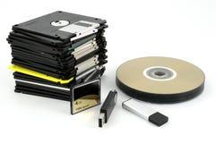 Flash, cartão e discos flexíveis Fotografia de Stock Royalty Free