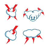 Flash cloud icon set Stock Photos