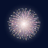 The flash of colorful fireworks. Vector illustration. The flash of colorful fireworks with stars on the dark sky background Royalty Free Stock Images