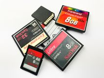 Flash compacto e de memória do SD cartões imagem de stock