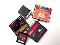 Flash compatto e schede di memoria di deviazione standard Fotografia Stock Libera da Diritti