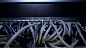 Flash de las lámparas del LED en servidor de datos almacen de metraje de vídeo