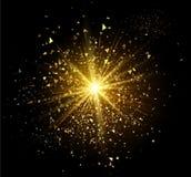 Flash de oro del fuego artificial Fotografía de archivo libre de regalías
