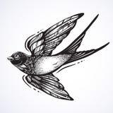 Flash del tatuaje de Blackwork Pájaro maravillosamente detallado del trago que vuela Diseño retro del estilo del vintage Ilustrac stock de ilustración
