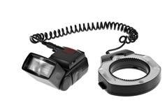 Flash della macchina fotografica con il flash dell'anello Fotografie Stock Libere da Diritti