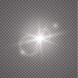 Flash di Sun con i raggi ed il riflettore Effetto della luce speciale del chiarore della lente di luce solare trasparente di vett illustrazione vettoriale
