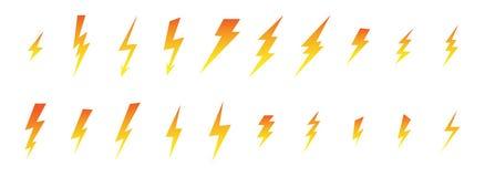 Flash do grupo, relâmpago, elétrico, trovão, ícones de tipos diferentes e tamanhos no inclinação da laranja a amarelar ilustração stock