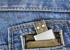 Flash do Usb no bolso Imagens de Stock