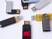 Flash Drive. Group of flash drive on white background Stock Image
